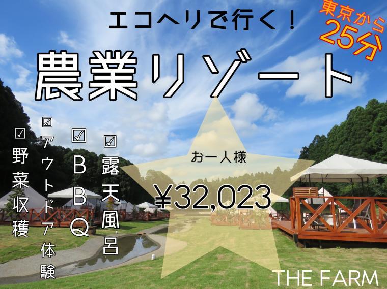 エコヘリで行く、千葉県の「農園リゾートTHE FARM」